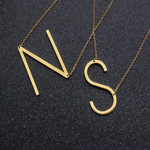 Gold Color Fun Letters Alphabet Pendant Necklace - Custom Made | Free Shipping