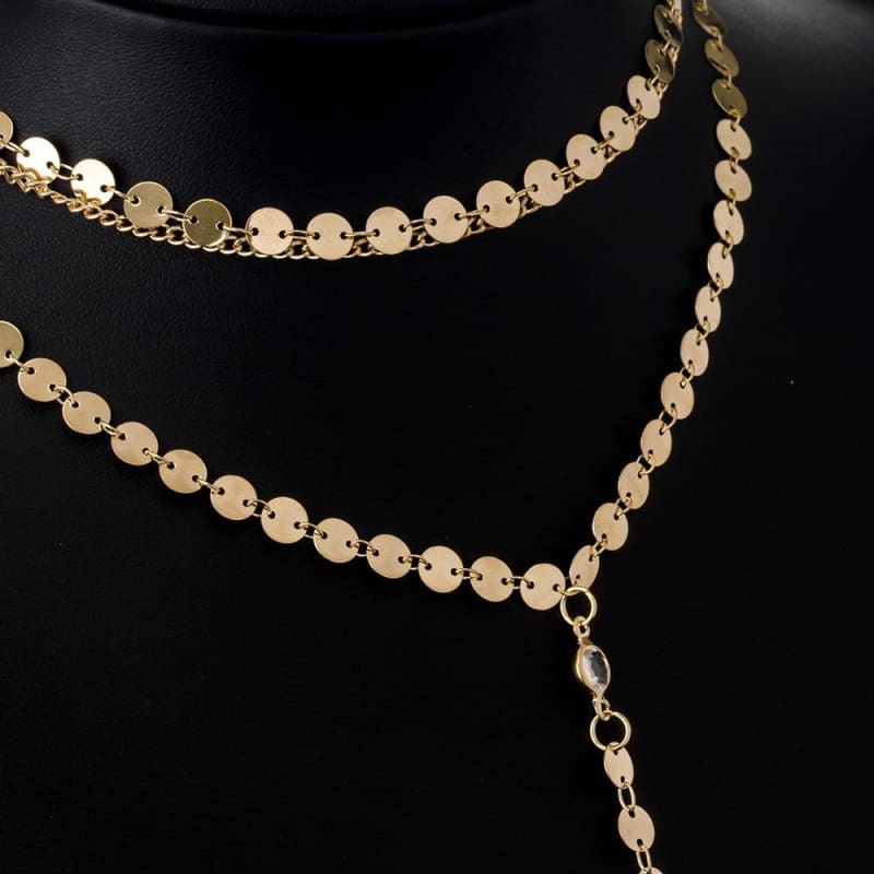 Gold Color Multiple Layers Plate Chain Choker - Custom Made | Free Shipping