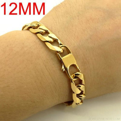 Image of Gold Color Stainless Steel Bracelet 6/8/12 Mm Cuban Chain - 12Mm / 20.5Cm - Custom Made | Free Shipping
