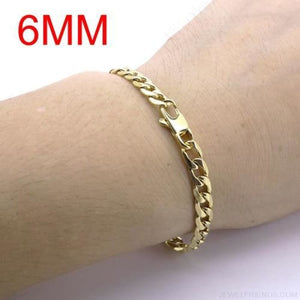 Gold Color Stainless Steel Bracelet 6/8/12 mm Cuban Chain