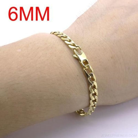 Gold Color Stainless Steel Bracelet 6/8/12 Mm Cuban Chain - 6Mm / 20.5Cm - Custom Made | Free Shipping