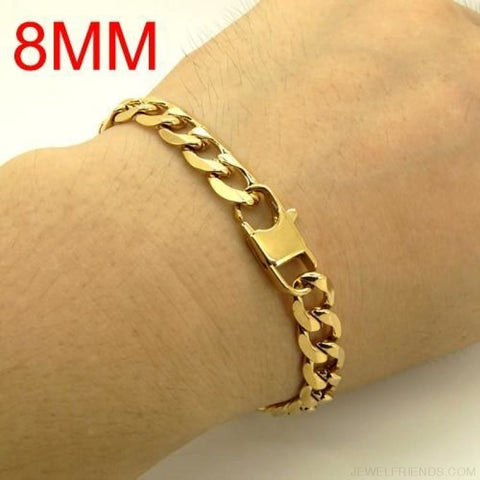 Image of Gold Color Stainless Steel Bracelet 6/8/12 Mm Cuban Chain - 8Mm / 20.5Cm - Custom Made | Free Shipping