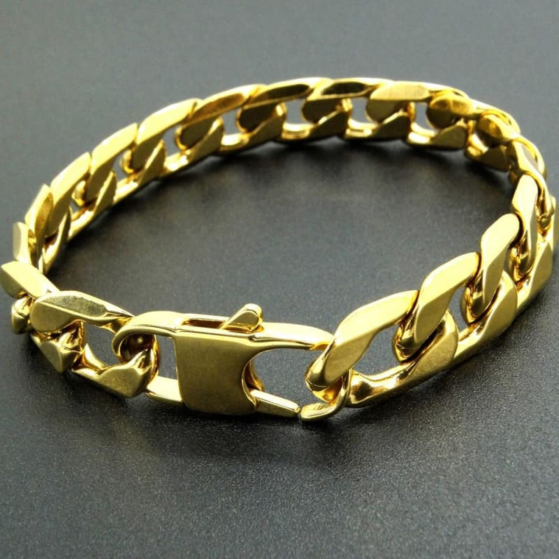 Gold Color Stainless Steel Bracelet 6/8/12 Mm Cuban Chain - Custom Made | Free Shipping