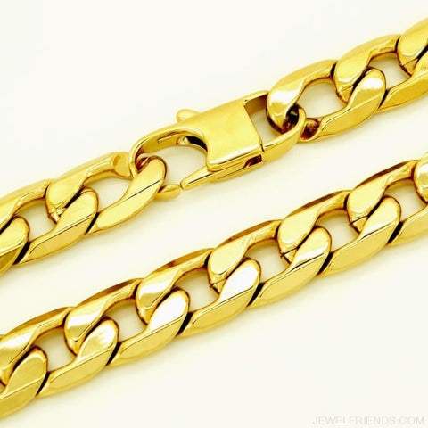 Image of Gold Color Stainless Steel Bracelet 6/8/12 Mm Cuban Chain - Custom Made | Free Shipping