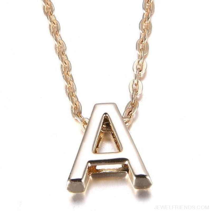 Gold Plate Letter Name Initial Chain Pendant - A - Custom Made | Free Shipping