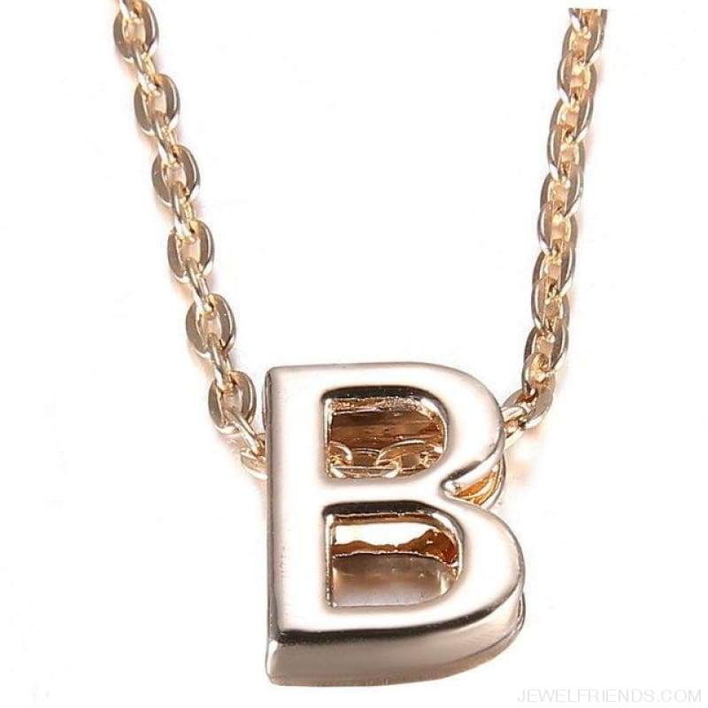 Gold Plate Letter Name Initial Chain Pendant - B - Custom Made | Free Shipping