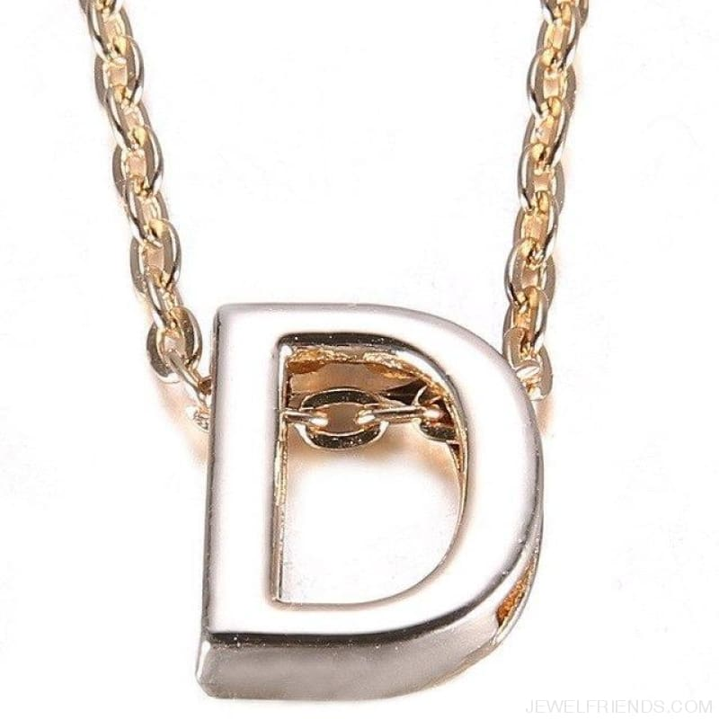 Gold Plate Letter Name Initial Chain Pendant - D - Custom Made | Free Shipping