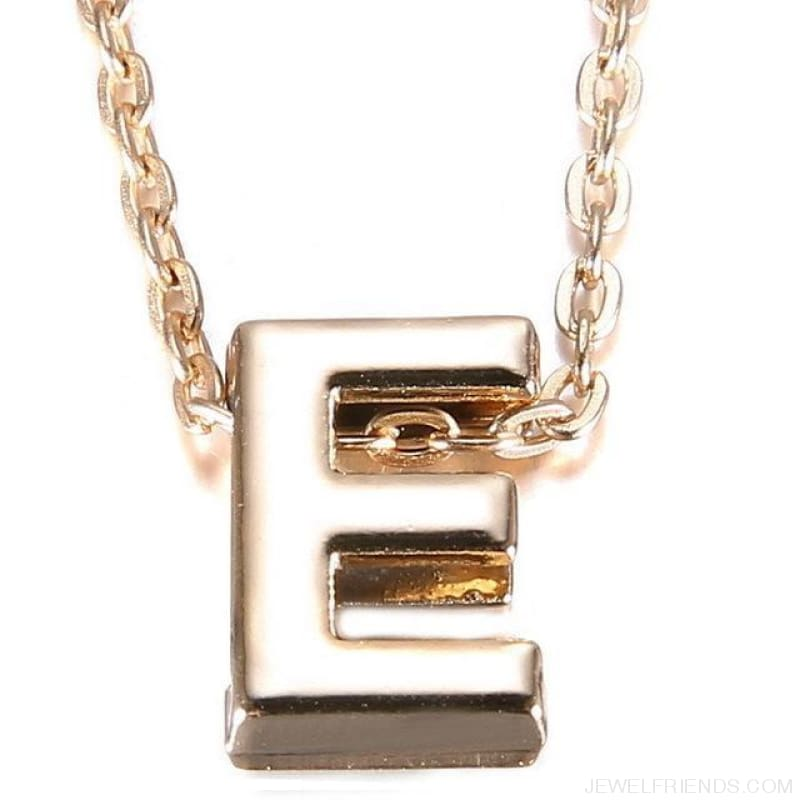 Gold Plate Letter Name Initial Chain Pendant - E - Custom Made | Free Shipping