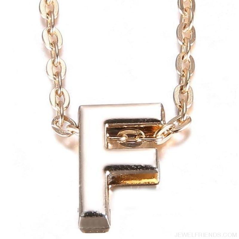 Gold Plate Letter Name Initial Chain Pendant - F - Custom Made | Free Shipping