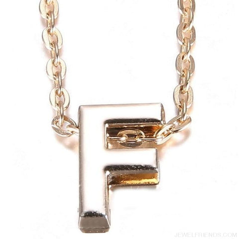 Image of Gold Plate Letter Name Initial Chain Pendant - F - Custom Made | Free Shipping