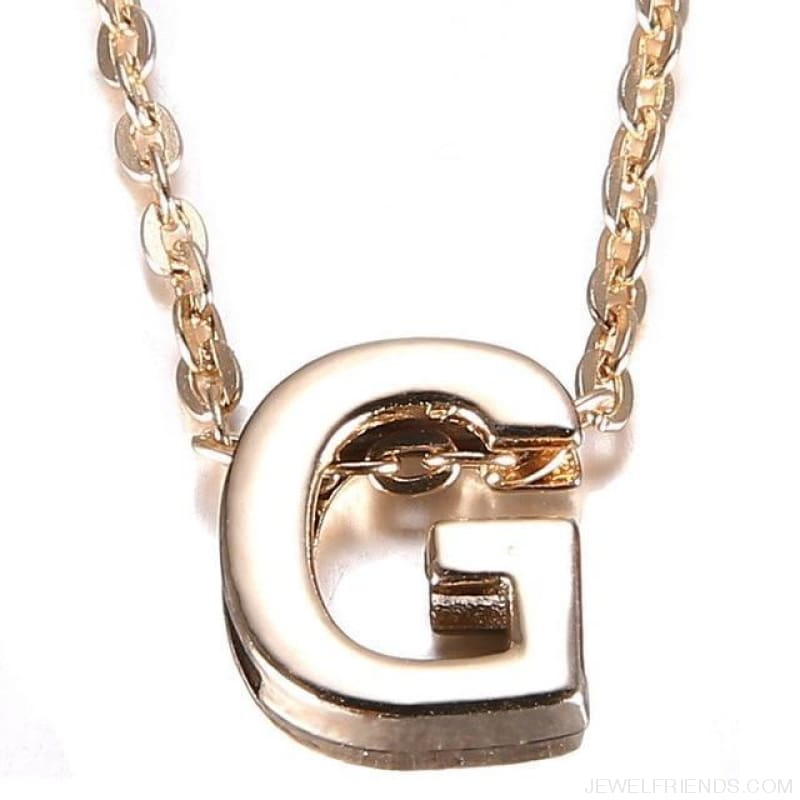 Gold Plate Letter Name Initial Chain Pendant - G - Custom Made | Free Shipping