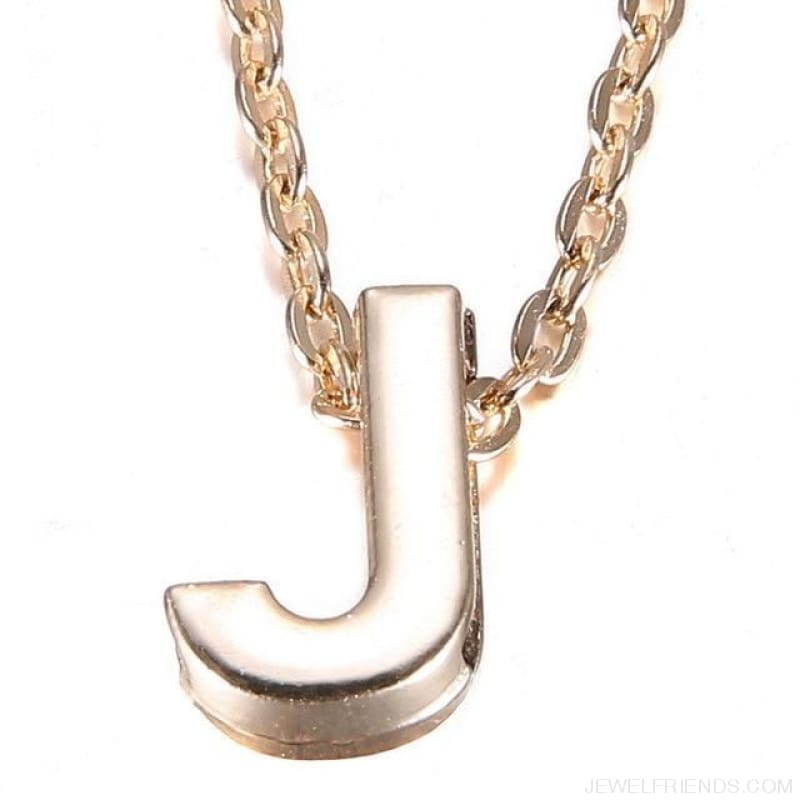 Gold Plate Letter Name Initial Chain Pendant - J - Custom Made | Free Shipping