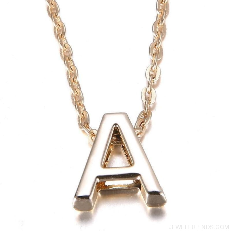 Gold Plate Letter Name Initial Chain Pendant - Custom Made | Free Shipping
