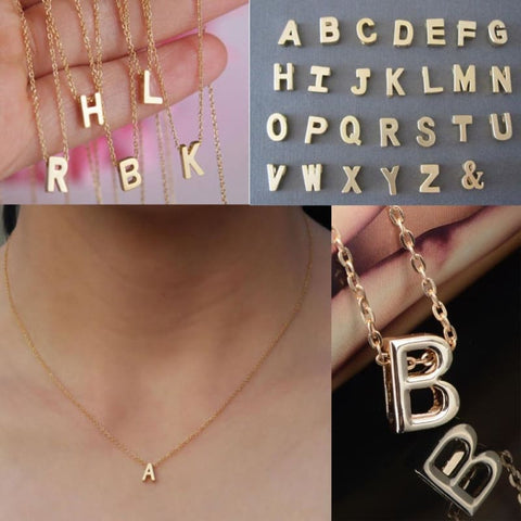 Image of Gold Plate Letter Name Initial Chain Pendant - Custom Made | Free Shipping