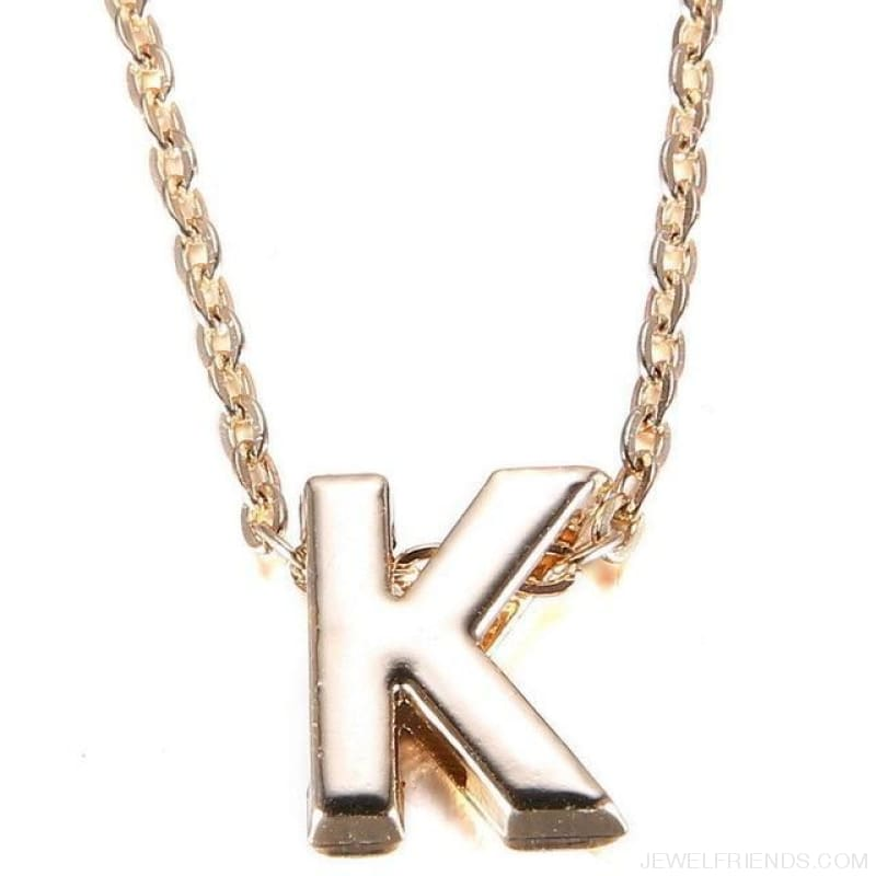 Gold Plate Letter Name Initial Chain Pendant - K - Custom Made | Free Shipping