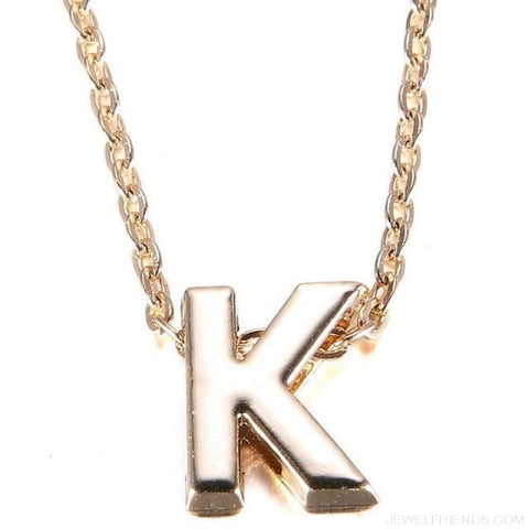 Image of Gold Plate Letter Name Initial Chain Pendant - K - Custom Made | Free Shipping