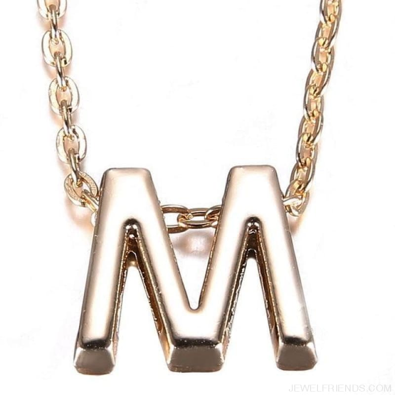 Gold Plate Letter Name Initial Chain Pendant - M - Custom Made | Free Shipping