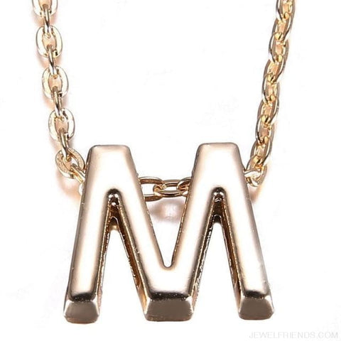 Image of Gold Plate Letter Name Initial Chain Pendant - M - Custom Made | Free Shipping