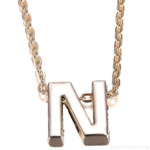 Image of Gold Plate Letter Name Initial Chain Pendant - N - Custom Made | Free Shipping