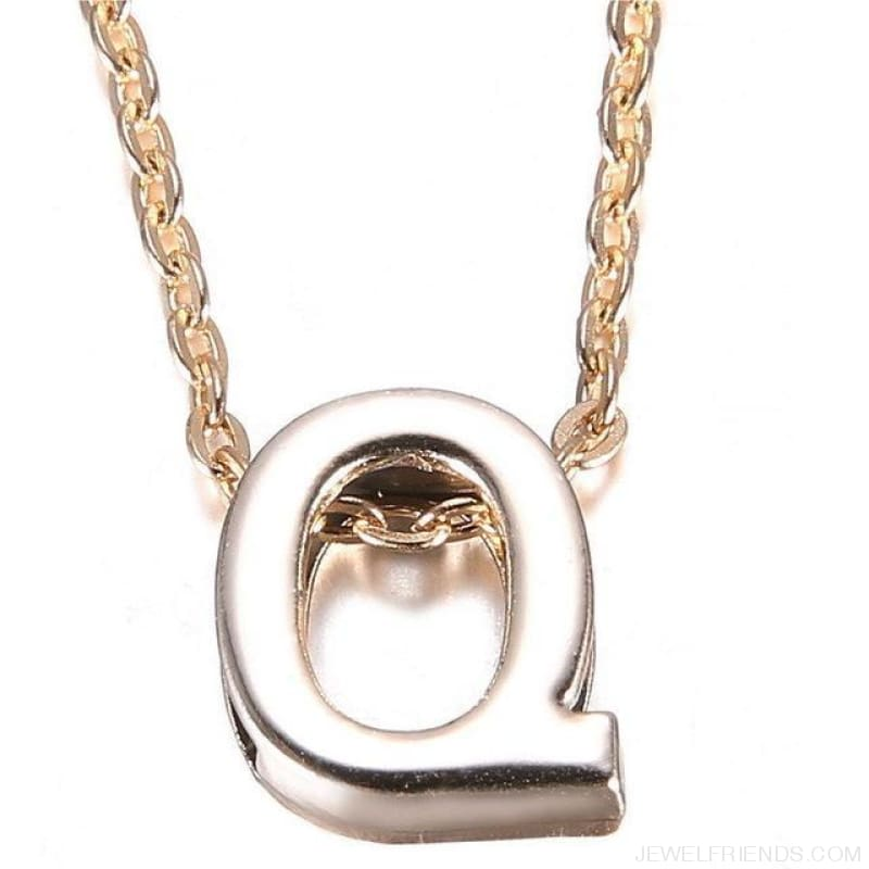 Gold Plate Letter Name Initial Chain Pendant - Q - Custom Made | Free Shipping