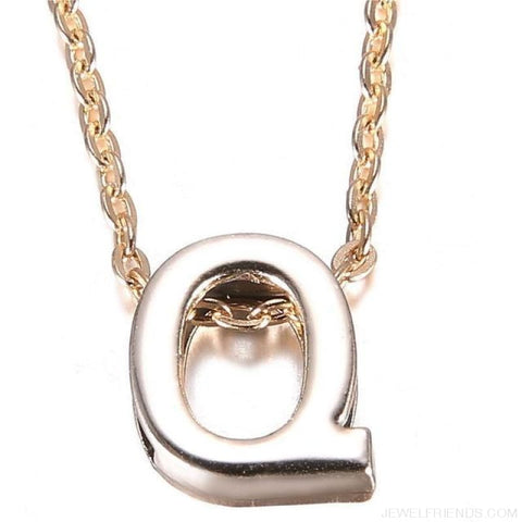 Image of Gold Plate Letter Name Initial Chain Pendant - Q - Custom Made | Free Shipping