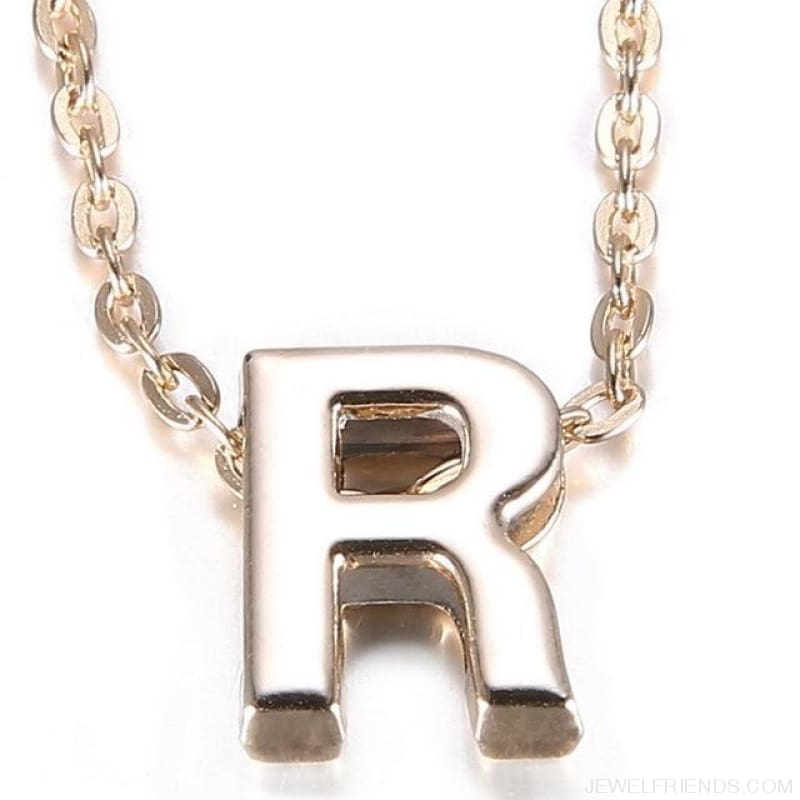 Gold Plate Letter Name Initial Chain Pendant - R - Custom Made | Free Shipping