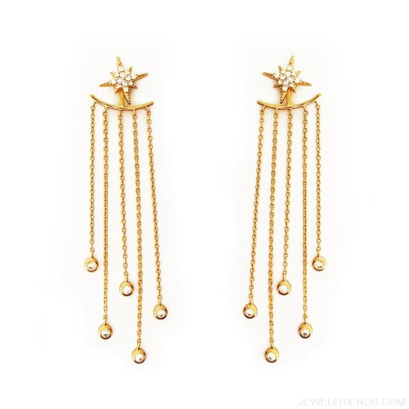 Gold/ Silver Color Star Streamlined Tassel Long Crystal Earrings - C10 Gold - Custom Made | Free Shipping