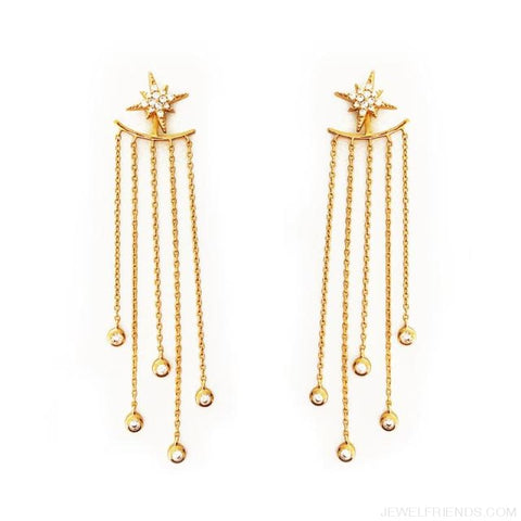 Image of Gold/ Silver Color Star Streamlined Tassel Long Crystal Earrings - C10 Gold - Custom Made | Free Shipping