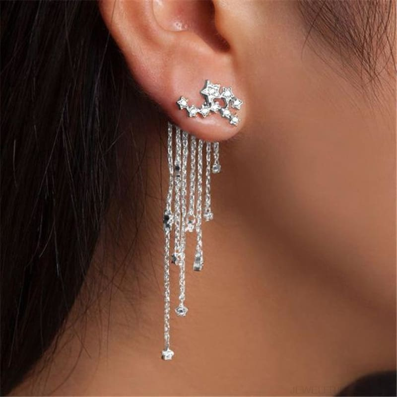 Gold/ Silver Color Star Streamlined Tassel Long Crystal Earrings - C2 Silver - Custom Made | Free Shipping