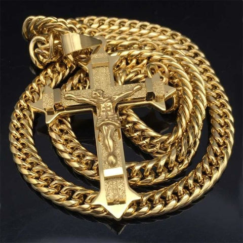 Image of Gold Tone Cross Christ Jesus Pendant Necklace 21.65 7Mm - Gold Color / 60Cm - Custom Made | Free Shipping