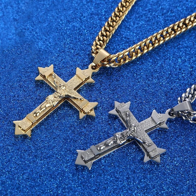 Gold Tone Cross Christ Jesus Pendant Necklace 21.65 7Mm - Custom Made | Free Shipping