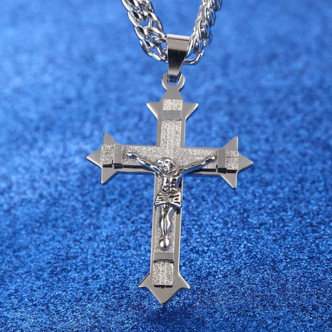Image of Gold Tone Cross Christ Jesus Pendant Necklace 21.65 7Mm - Custom Made | Free Shipping