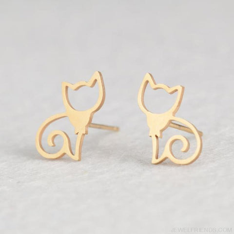 Golden Stainless Steel Cute Simple Stud Earrings - Cat - Custom Made | Free Shipping