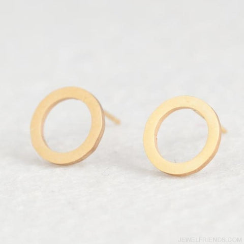 Golden Stainless Steel Cute Simple Stud Earrings - Circle - Custom Made | Free Shipping