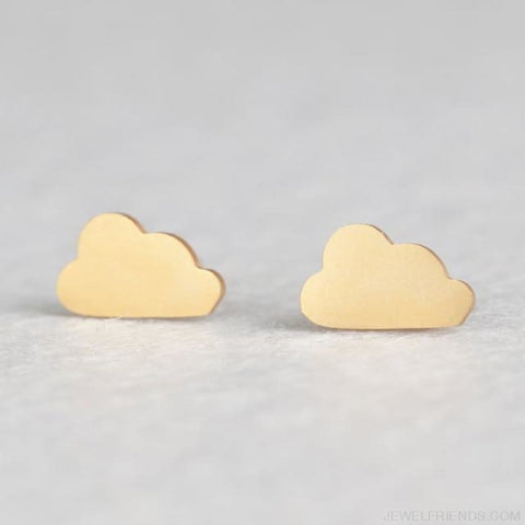 Image of Golden Stainless Steel Cute Simple Stud Earrings - Cloud - Custom Made | Free Shipping