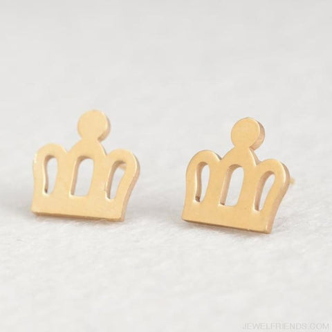 Image of Golden Stainless Steel Cute Simple Stud Earrings - Crown - Custom Made | Free Shipping