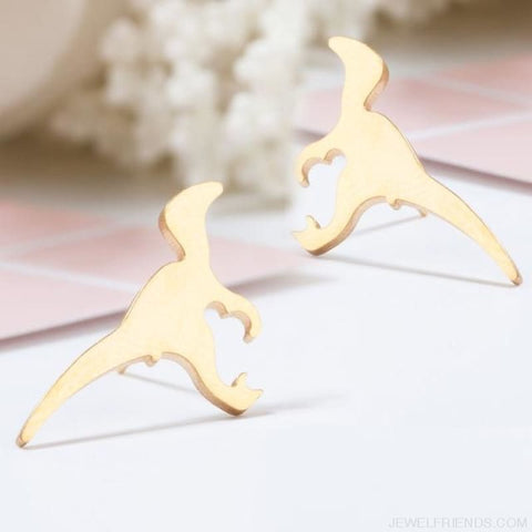Golden Stainless Steel Cute Simple Stud Earrings - Dinosaur - Custom Made | Free Shipping