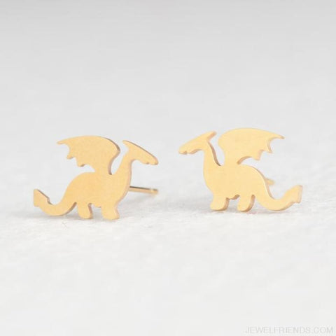 Golden Stainless Steel Cute Simple Stud Earrings - Dragon - Custom Made | Free Shipping