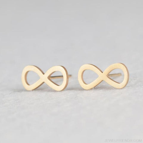 Golden Stainless Steel Cute Simple Stud Earrings - E020832 - Custom Made | Free Shipping