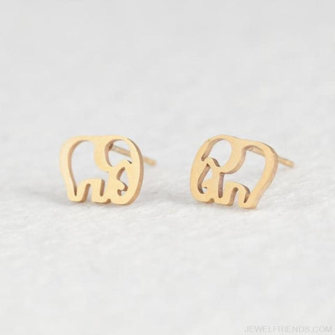 Golden Stainless Steel Cute Simple Stud Earrings - Elephant - Custom Made | Free Shipping