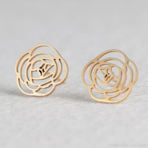 Golden Stainless Steel Cute Simple Stud Earrings - Flower - Custom Made | Free Shipping