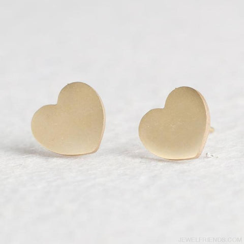 Golden Stainless Steel Cute Simple Stud Earrings - Heart - Custom Made | Free Shipping