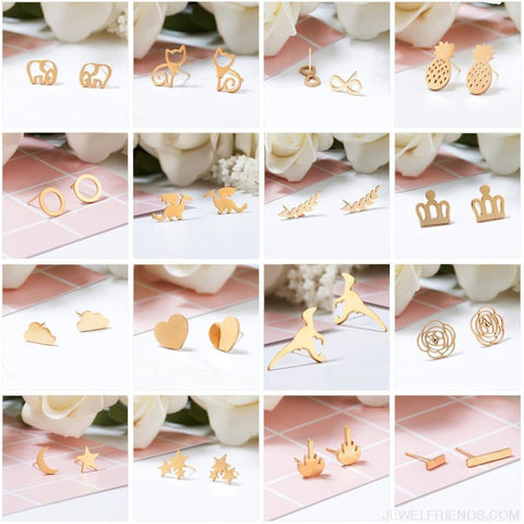 Golden Stainless Steel Cute Simple Stud Earrings - Custom Made | Free Shipping