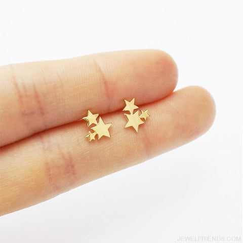 Image of Golden Stainless Steel Cute Simple Stud Earrings - Custom Made | Free Shipping