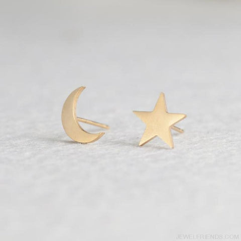 Golden Stainless Steel Cute Simple Stud Earrings - Moon Star - Custom Made | Free Shipping