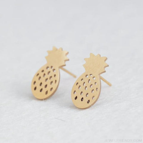 Image of Golden Stainless Steel Cute Simple Stud Earrings - Pineapple - Custom Made | Free Shipping