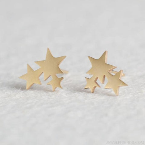 Golden Stainless Steel Cute Simple Stud Earrings - Stars - Custom Made | Free Shipping