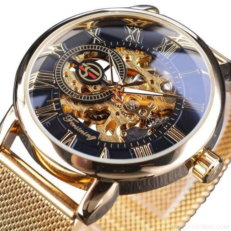Golden Stainless Steel Mechanical Watch Luxury Skeleton - Black Golden - Custom Made | Free Shipping