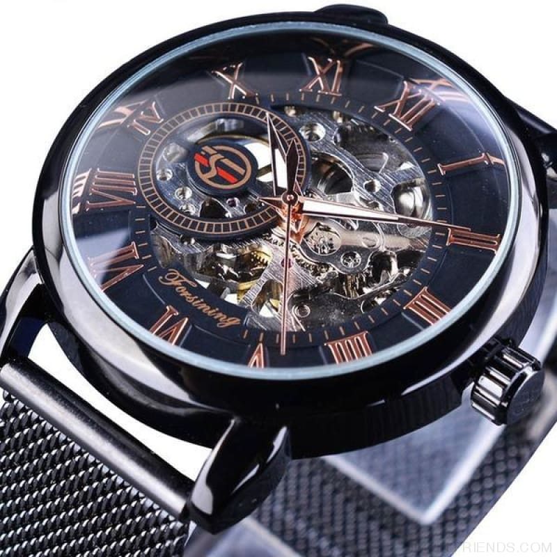 Golden Stainless Steel Mechanical Watch Luxury Skeleton - Black - Custom Made | Free Shipping