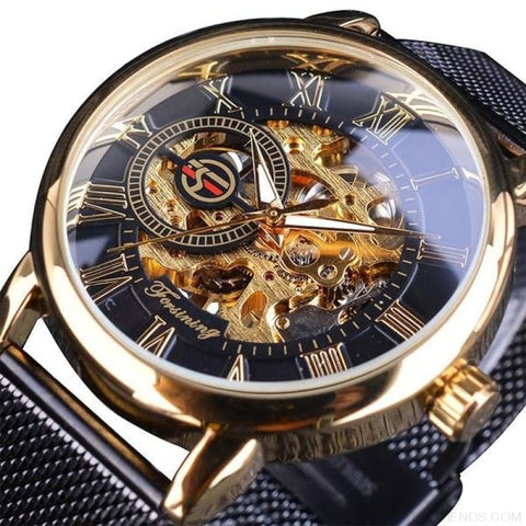 Golden Stainless Steel Mechanical Watch Luxury Skeleton - Golden Black - Custom Made | Free Shipping